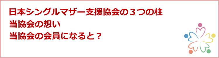 日本シングルマザー支援協会の3つの柱